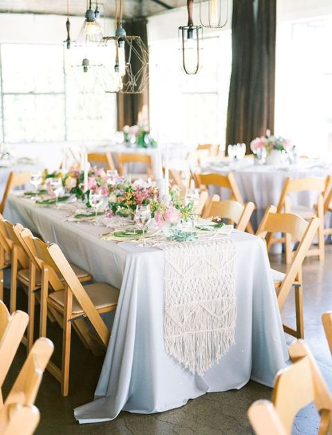 Macrame knotted wedding decor for tables
