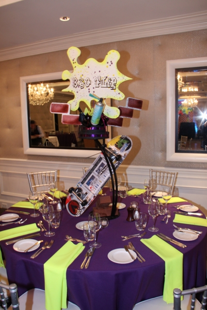 Original table centerpiece idea with skateboard