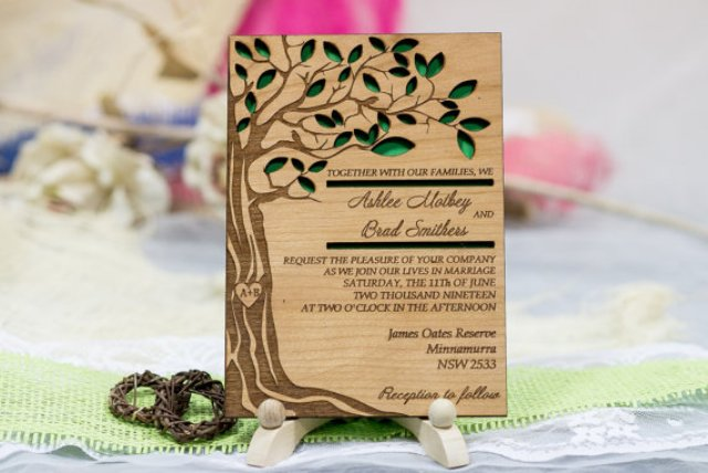 Original wood invitation