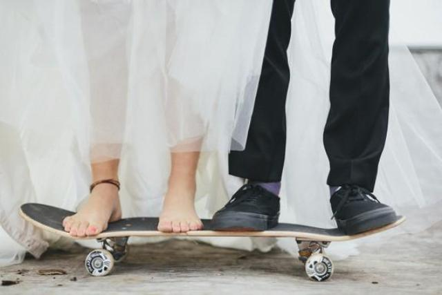 Photo shoot for a skateboard themed wedding