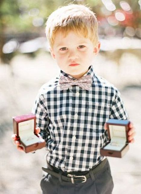 Plaid shirt for ring bearer