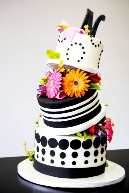 Polka dot topsy turvy wedding cake