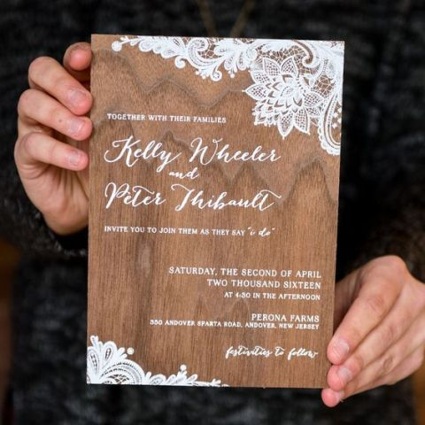 picture of printed wood wedding invitation