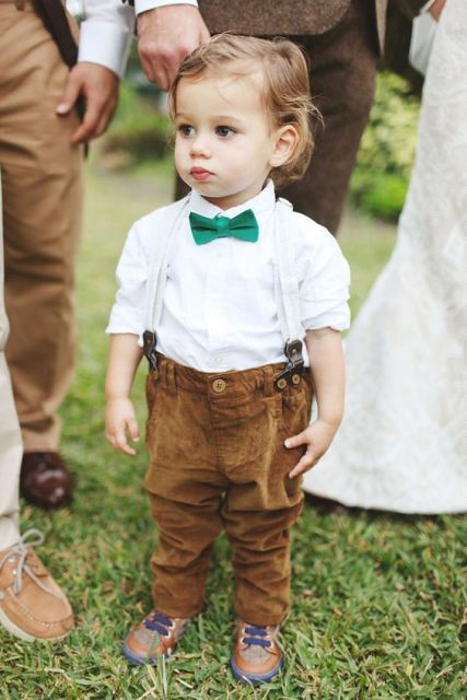 Ring bearer outfit with green bow tie