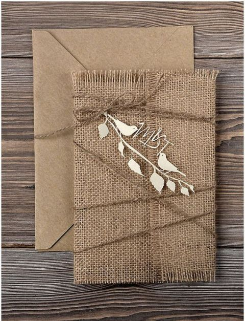 22 cute burlap wedding invitation ideas weddingomania rustic invitation with burlap and decor details solutioingenieria Gallery