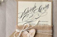 Rustic wedding invitation with burlap