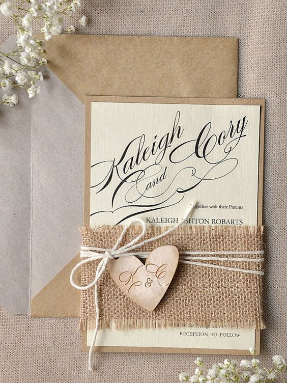 Rustic wedding invitation with burlap