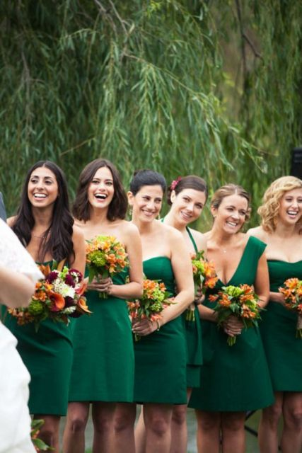 Short viridian bridesmaid dresses