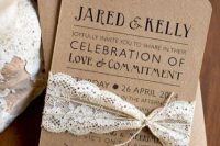 Simple and chic craft paper wedding invitation with lace