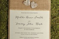 Simple burlap wedding invitations