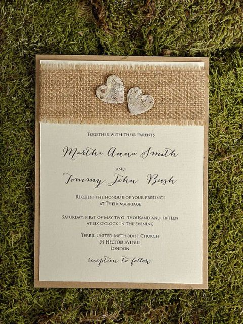 picture of simple burlap wedding invitations - Burlap Wedding Invitations