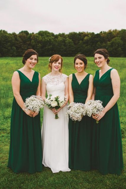 Simple but chic emerald bridesmaid dresses