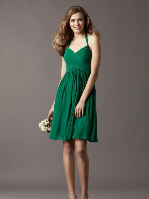 Simple persian green bridesmaid dress