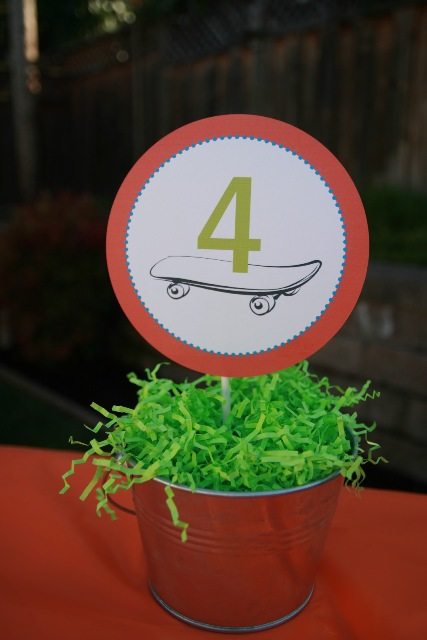Skateboard table number