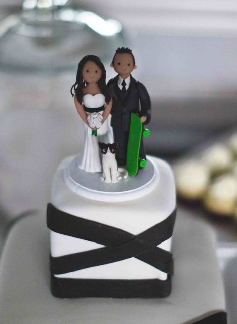 Skateboard wedding cake topper