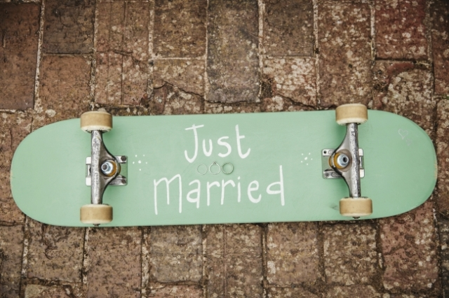 Skateboard wedding decor idea