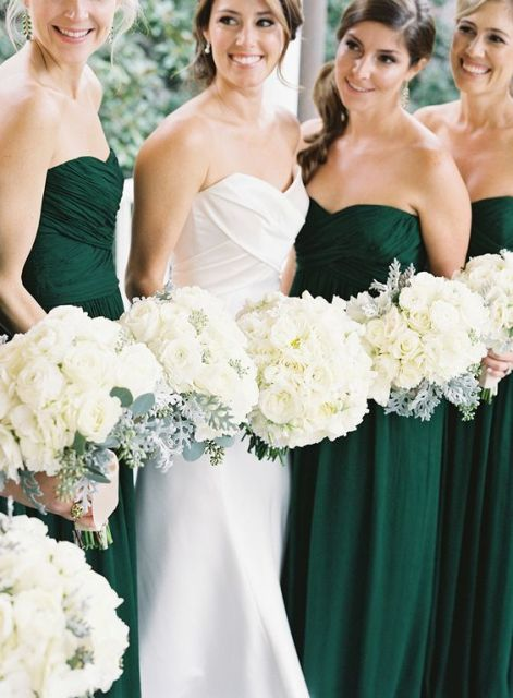 Strapless emerald bridesmaid dresses