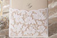 Stylish lace wedding invitation
