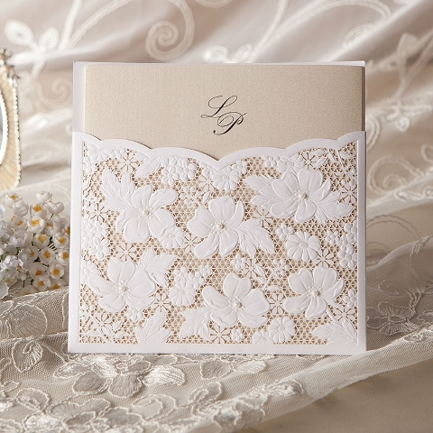 Stylish lace wedding invitation