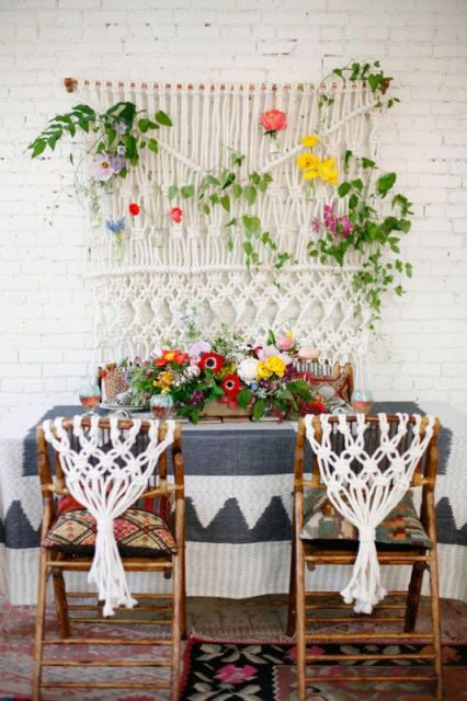Unique macrame knotted wedding chair decor