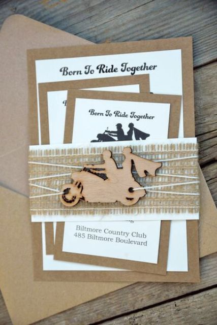 Unique wedding invitation with burlap and wood decor