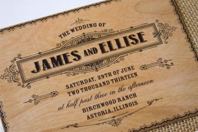 Unique wood wedding invitation