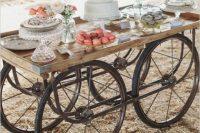 Wagon wheel decor addition for candy bar