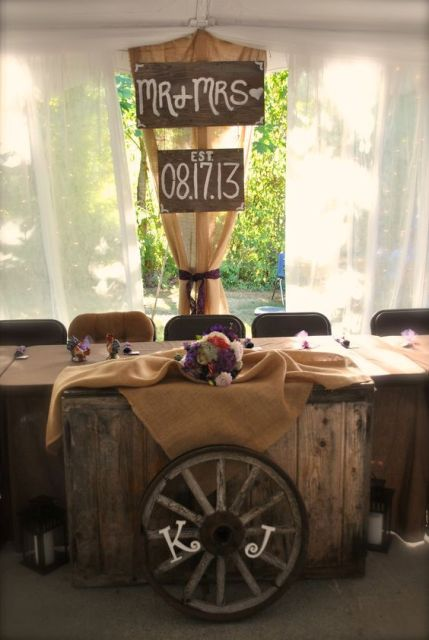 Wagon wheel decor for indoor weddings