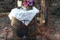 Wagon wheel decor for rustic weddings