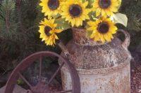 Wagon wheel decor idea for country weddings