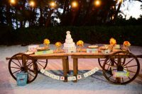 Wagon wheels as decor details for table