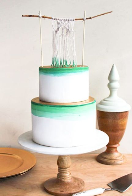 Wedding cake with macrame knotted wedding decor