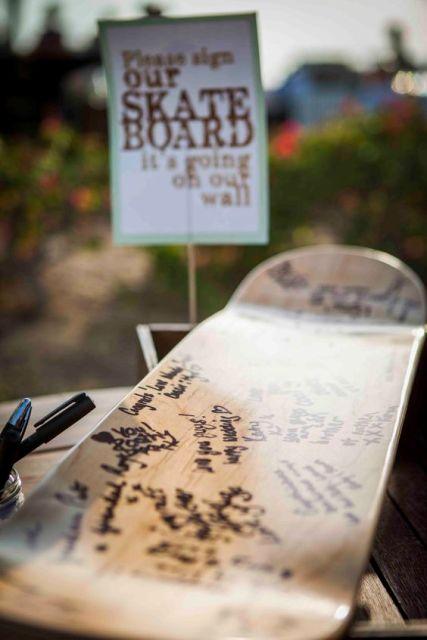 Wedding guest book from a skateboard