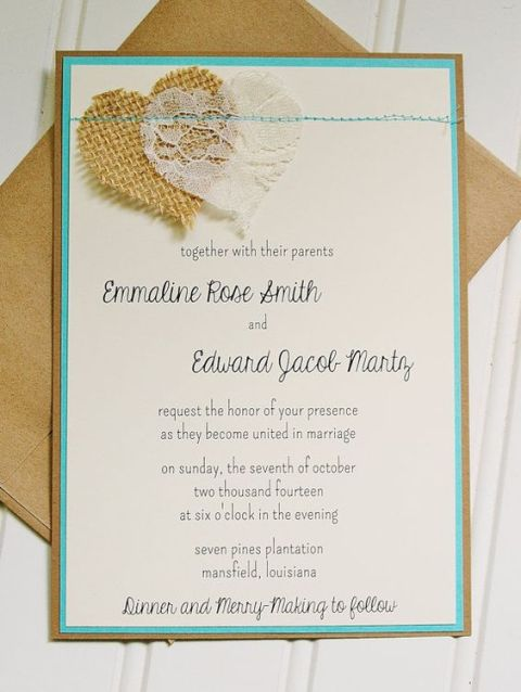 22 cute burlap wedding invitation ideas weddingomania wedding invitation with burlap and lace solutioingenieria Gallery