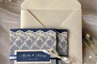 Wedding invitation with creme lace