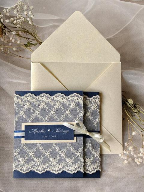 Wedding invitation with creme lace