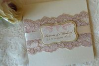 Wedding invitation with gentle pink lace