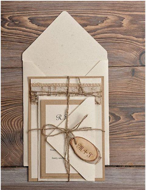 Wedding invitation with wood charm