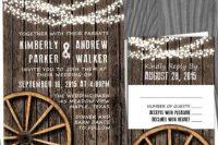 Wedding invitations with wagon wheels