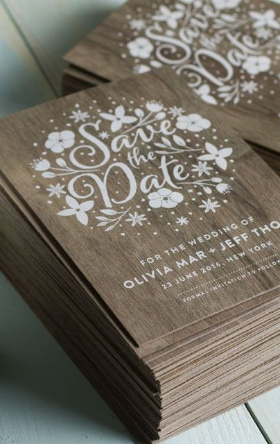Wood save the date cards