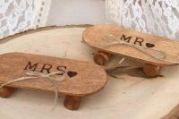Wood skateboard ring bearer pillow alternative