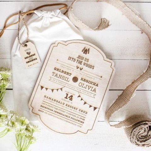 Wood wedding invitation with personalized bag