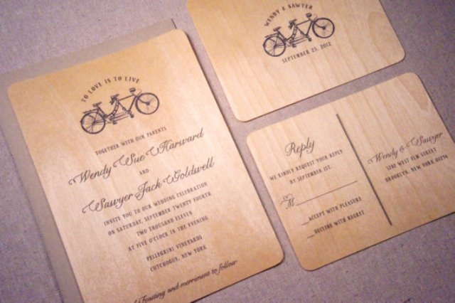 picture of wood wedding invitations with print - Wood Wedding Invitations