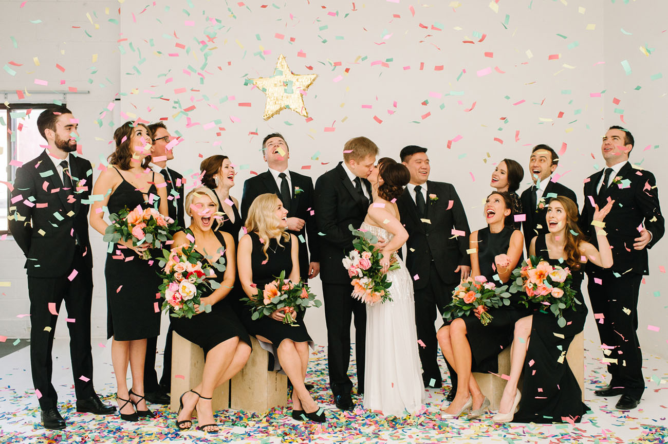 Picture Of black and gold wedding filled with confetti and champagne  1