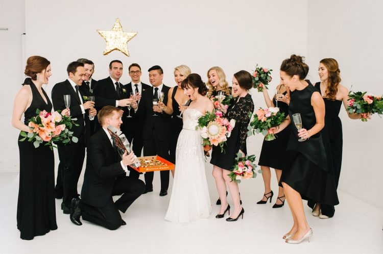 Black And Gold Wedding Filled With Confetti And Champagne