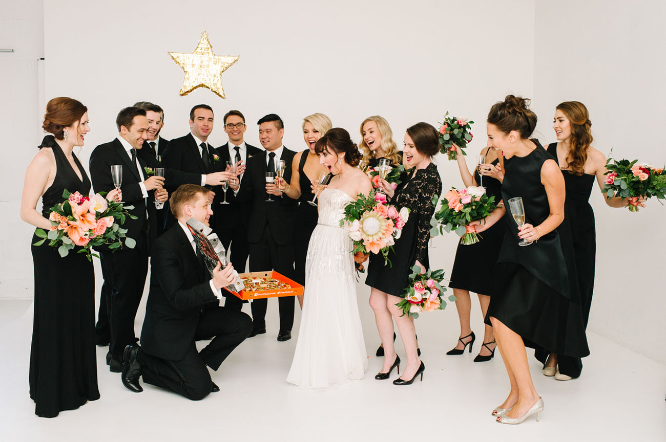 Picture Of black and gold wedding filled with confetti and champagne  10