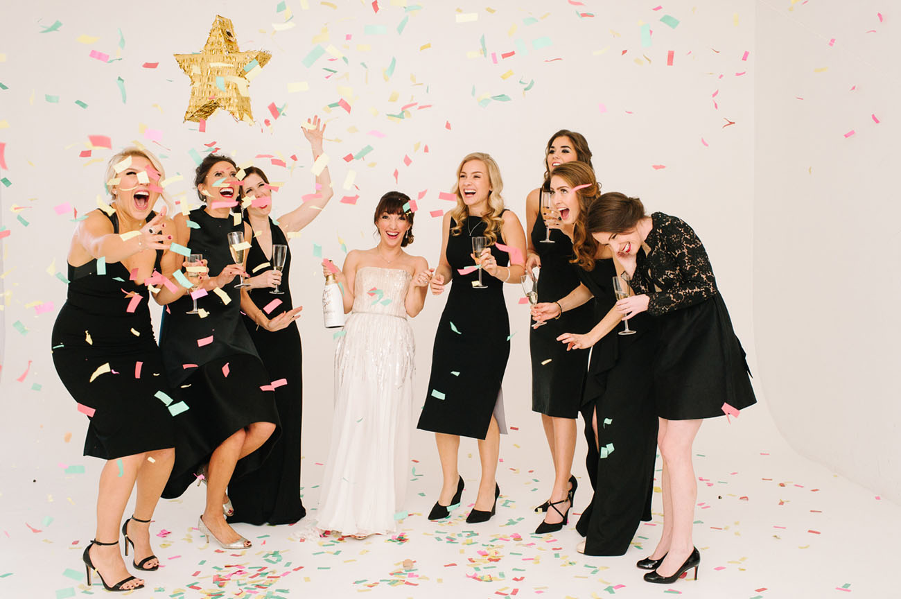 Picture Of black and gold wedding filled with confetti and champagne  11