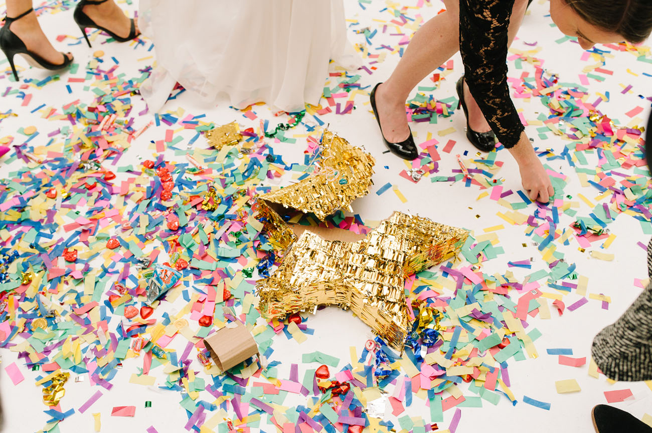 Picture Of black and gold wedding filled with confetti and champagne  12