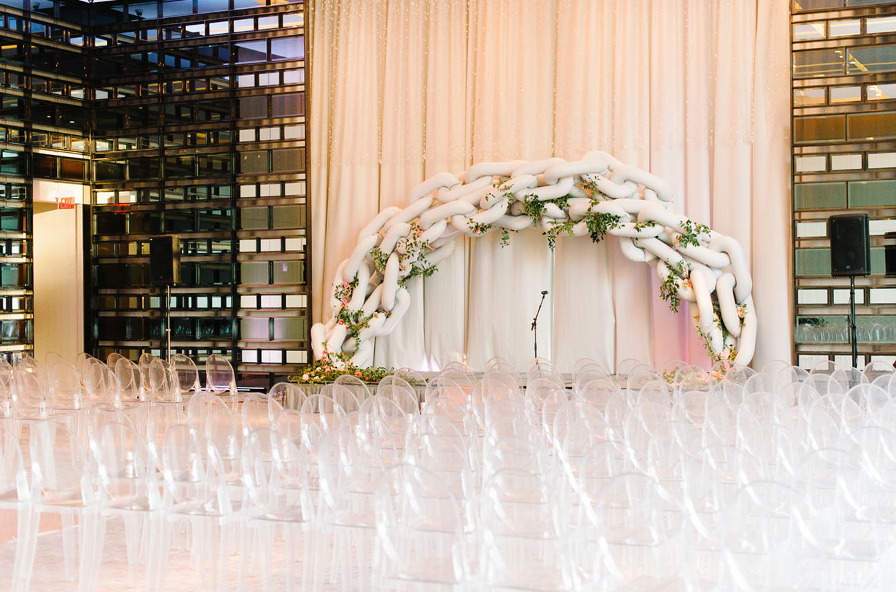 Picture Of black and gold wedding filled with confetti and champagne  15