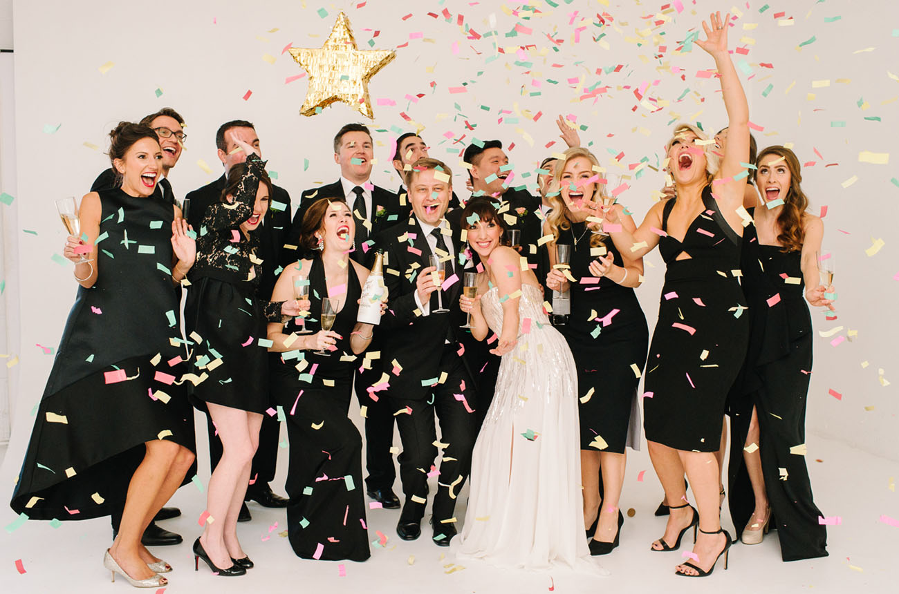Picture Of black and gold wedding filled with confetti and champagne  8